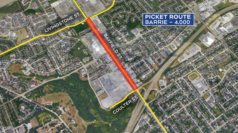 The picket route is show for Barrie where 4,000 members are expected along Bayfield Street on Fri., Feb. 21, 2020.
