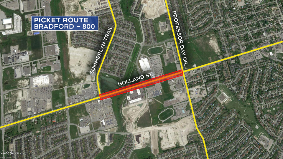 The picket route for Bradford where 800 members are expected along Holland Street on Fri., Feb. 21, 2020.