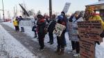 Protesters awaited Conservative Leadership hopeful, Peter MacKay, in Barrie on Thurs., Feb. 20, 2020. (Dave Erskine/CTV News)