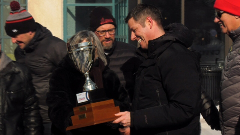 Winnipeg Mayor Brian Bowman claimed the championship trophy. (Source: CTV News Winnipeg)