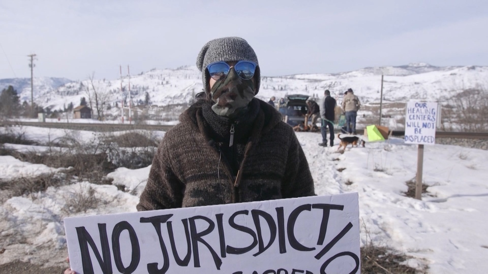 A group of demonstrators gathered on CP Rail tracks on Feb. 20. 2020 to block the tracks just east of Kamloops.