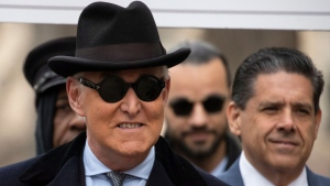 Roger Stone arrives for his sentencing at federal court in Washington, Thursday, Feb. 20, 2020. Roger Stone, a staunch ally of President Donald Trump, faces sentencing on his convictions for witness tampering and lying to Congress. (AP / Manuel Balce Ceneta)