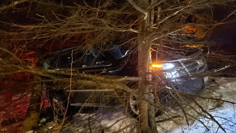 A crash on Erb Street in Waterloo resulted in one coming to rest in backyard. (Scott Clarke/ CTV News)