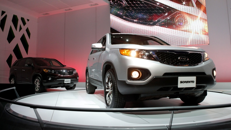 FILE - In this Dec. 2, 2009, file photo, the 2011 Kia Sorento debuts at the Los Angeles Auto Show in Los Angeles. (AP Photo/Jae C. Hong, File)
