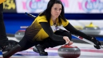 Team Manitoba skip Kerri Einarson makes a shot during draw 16 against team British Columbia at the Scotties Tournament of Hearts in Moose Jaw, Sask., Thursday, February 20, 2020. THE CANADIAN PRESS/Jonathan Hayward