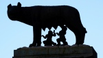 According to legend, brothers Romulus and Remus were raised by a she-wolf -- the symbol of Rome shows them sucking at her teats. AFP.