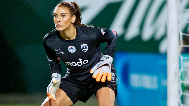 File photo of Seattle Reign FC goalkeeper Hope Solo on Oct. 1, 2015 (AP Photo/Craig Mitchelldyer, File)