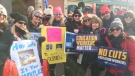 North Bay education workers out on the picket line in downtown Feb, 21/20 (Eric Taschner/CTV Northern Ontario)