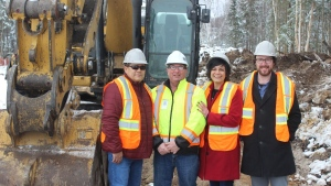 Breaking ground at new cannabis production plant on Nipissing First Nation. (Supplied)