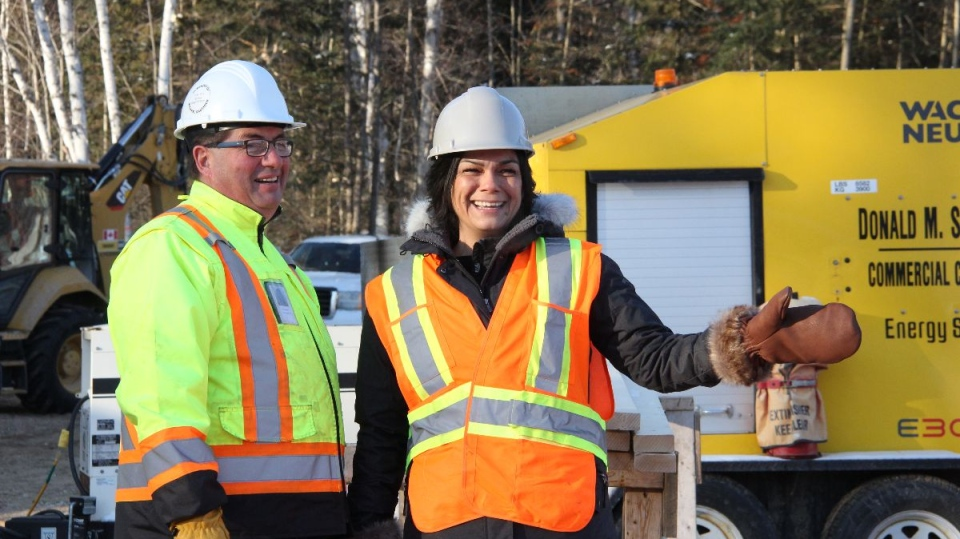 Golden Harvest Organics owner Natalie Payette-Chevrier breaks ground on new cannabis production plant on Nipissing First Nation. (Supplied)