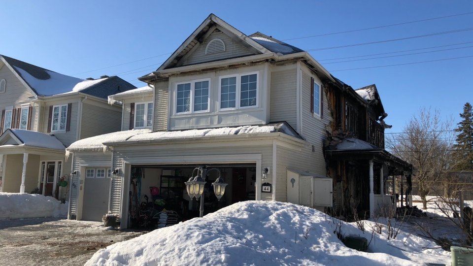 Aftermath of a fire at a row home in Barrhaven