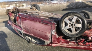 A Cape Breton teen has been ticketed for careless driving after flipping this car on its roof in Sydney River, N.S., on Feb. 20, 2020. (RCMP)