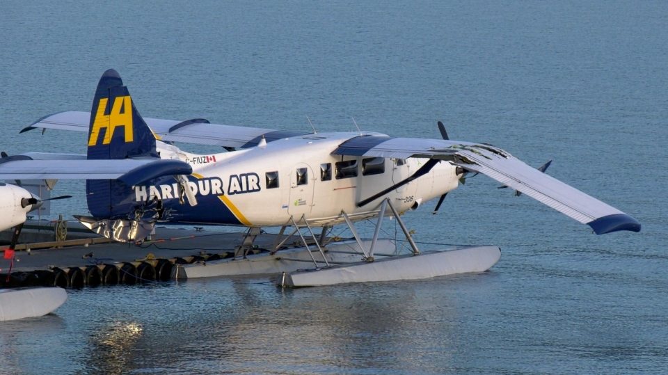 A Harbour Air plane is seen with damage to its wing. Police say a man stole a float plane then fled after crashing it into another plane. (Jordan Jiang / CTV News Vancouver)
