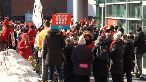 Province-wide teachers' strike draws thousands outside Kitchener City Hall