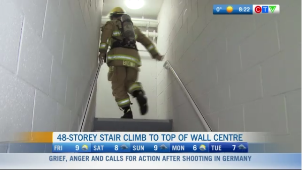Firefighters climb Sheraton Wall Centre