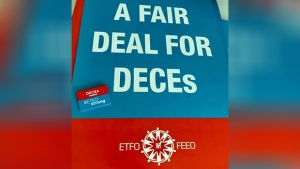 Picket signs for designated early childhood educators. (Supplied)