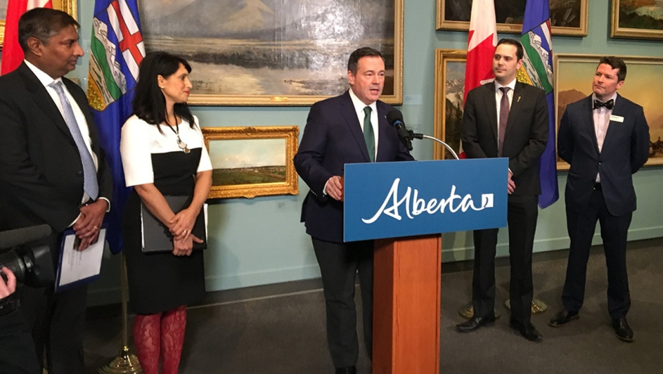 Premier Jason Kenney is joined by Leela Sharon Aheer, Prasad Panda and Nicholas Bell at the funding announcement for the Glenbow Museum on Feb. 21, 2020