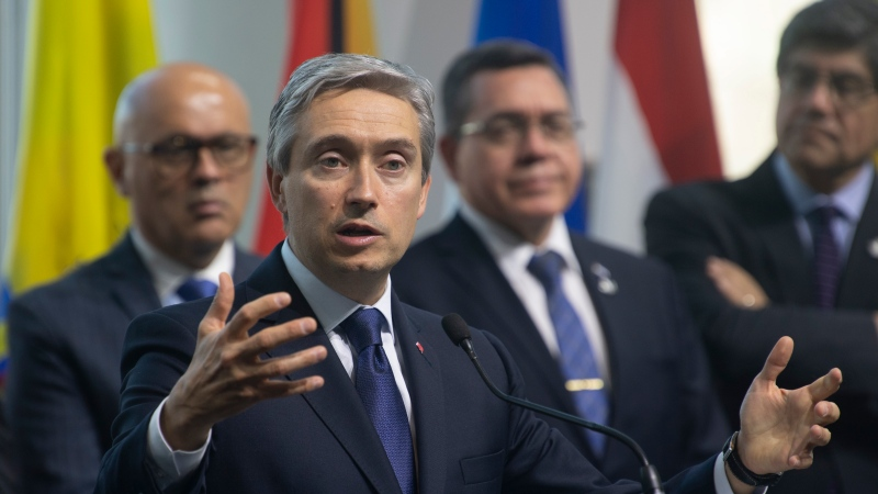 Canadian Foreign Affairs Minister Francois-Philippe Champagne speaks during the closing news conference at the Lima Group Ministerial meetings in Gatineau, Thursday February 20, 2020. THE CANADIAN PRESS/Adrian Wyld
