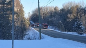 Essa Fire Services attend the scene of a trailer fire in Essa Township on Fri., Feb. 21, 2020. (OPP/Twitter)
