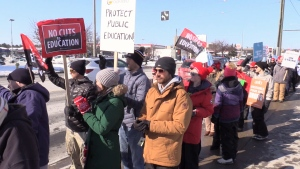 Thousands of education workers march along Bayfield Street in Barrie on Fri., Feb. 21, 2020. (Mike Arsalides/CTV News)