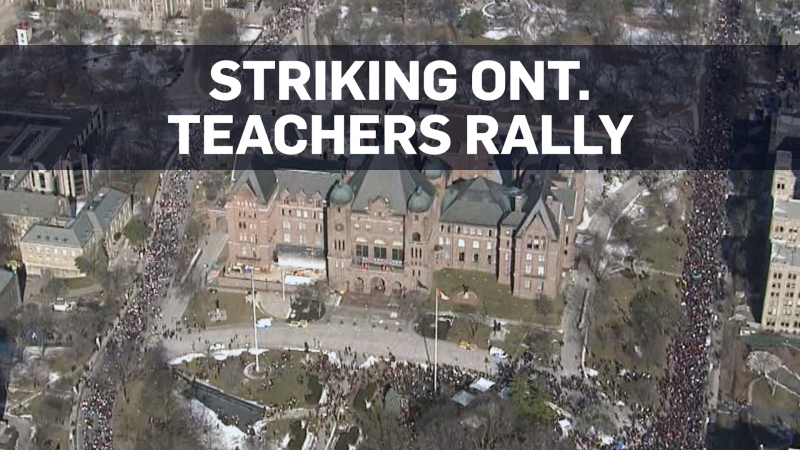 Aerials of thousands of Ontario teachers rallying