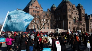 Protesters join a demonstration organized by the Teacher's Unions outside the Ontario Legislature, in Toronto, as four Teacher's Unions hold a province wide education strike, on Friday, February 21, 2020. THE CANADIAN PRESS/Chris Young