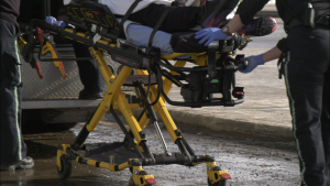 One person was seen being loaded into an ambulance at the Northgate Transit Centre on Feb. 21, 2020.