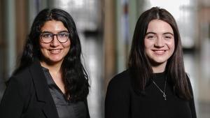 Dhanishta Ambwani, left, and Heather Chisholm are heading to university as Loran Scholars. (Credit: Eric Choi - Edge Imaging)