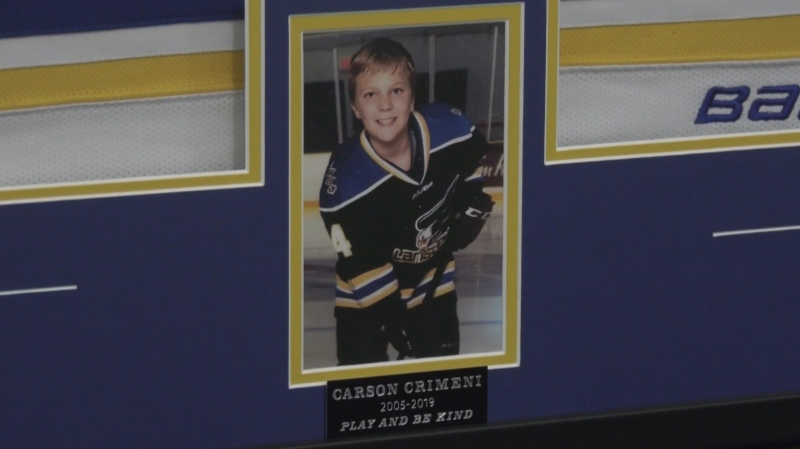 "A memorial to 14-year-old Carson Crimeni marked with the words ""Play and Be Kind"" was unveiled at the Langley Sportsplex on Feb. 21, 2020."