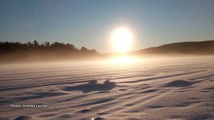 Sunrise while ice fishing in Ladysmith, Que. (Andrea Leclair/CTV Viewer)