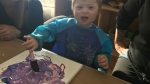 Myles Dunn is raising money from paintings he makes to help support the Saskatchewan Down Syndrome Society with its annual fun run. (Chad Leroux/CTV Saskatoon)