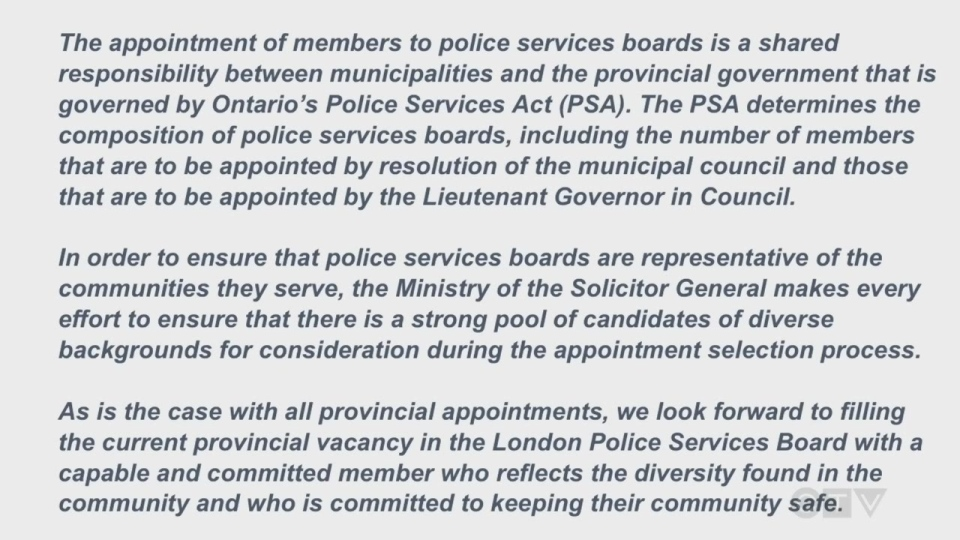 Statement about appointment to police board
