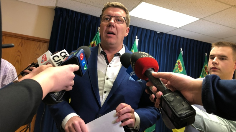 Saskatchewan Premier Scott Moe speaks to reporters in Saskatoon on Feb. 21, 2020. (Alessandra Carneiro/CTV Saskatoon)