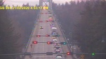 A highway camera shows traffic backed up on the Lions Gate Bridge during the Friday afternoon rush hour on Feb. 21, 2020. (DriveBC)
