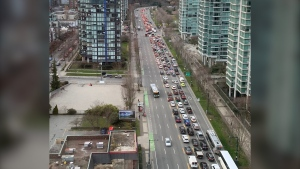 TransLink and DriveBC warned the public to expect significant delays in downtown Vancouver Friday evening after a crash on the Stanley Park Causeway. (Twitter/@memaxmarz)
