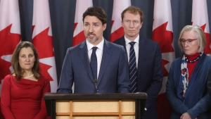 Prime Minister Justin Trudeau holds a news conference with members of his cabinet to discuss the current rail blockades and other topics at a news conference in Ottawa Friday, February 21, 2020. From left to right Bill Blair, Minister of Public Saftey, Chrystia Freeland, Deputy Prime Minister, Prime Minister Justin Trudeau, Marc Miller, Indigenous Services Minister, Carolyn Bennett Minister of Crown-Indigenous Relations and Marc Garneau, Transport Minister. THE CANADIAN PRESS/Fred Chartrand