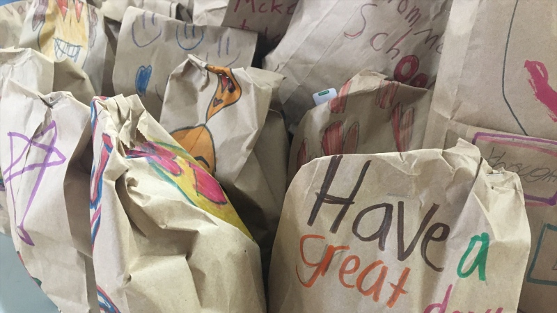 Handmade lunches for the less fortunate bought and packed by McKee students. (John Hanson/CTV News Edmonton)
