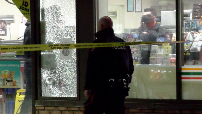 A firearm was discharged Friday outside a 7-11 in east Calgary.