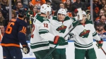 Minnesota Wild's Eric Staal (12), Kevin Fiala (22) and Jared Spurgeon (46) celebrate a goal against the Edmonton Oilers during first period NHL action in Edmonton, Alta., on Friday February 21, 2020. THE CANADIAN PRESS/Jason Franson