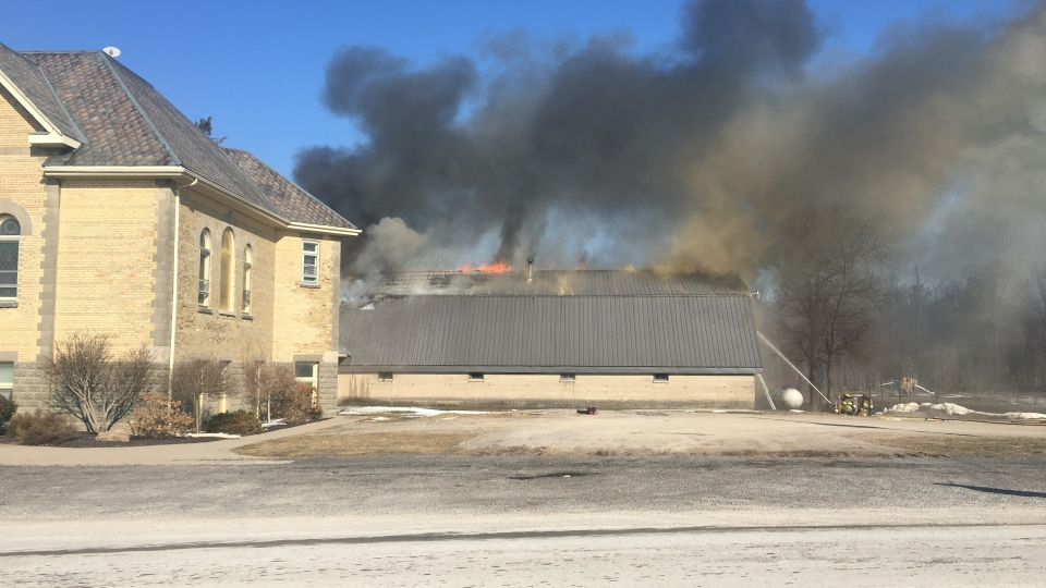 Building attached to Harvesters Baptist Church destroyed by fire. (Brent Lale / CTV London)