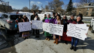 A group of people took part in a human trafficking walk in Orillia on Saturday Feb. 22. (Don Wright / CTV News)
