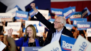 Democratic presidential candidate Sen. Bernie Sanders, I-Vt., right, with his wife Jane, speaks during a campaign event in San Antonio, Saturday, Feb. 22, 2020. (AP / Eric Gay)