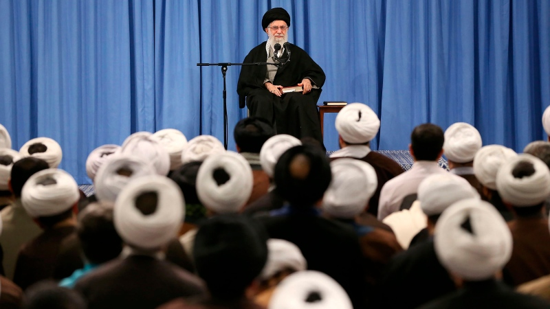 In this photo released by an official website of the office of the Iranian supreme leader, Supreme Leader Ayatollah Ali Khamenei speaks in a meeting in Tehran, Iran, Sunday, Feb. 23, 2020. (Office of the Iranian Supreme Leader via AP)