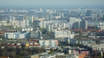 In this Thursday, April 4, 2019, file photo, apartment buildings in the former east part of the German capital photographed from the television tower in Berlin, Germany. (AP Photo/Markus Schreiber, file)
