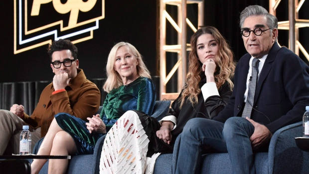 'Schitt's Creek' cast members Dan Levy, from left to right, Catherine O'Hara, Annie Murphy and Eugene Levy participate in a panel during the Winter 2020 Television Critics Association Press Tour, in Pasadena, Calif., Monday, Jan. 13, 2020. (THE CANADIAN PRESS/AP-Invision, Richard Shotwell)