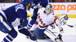 Toronto Maple Leafs left wing Pierre Engvall (47) scores his team's third goal of the game against Hurricanes emergency goalie David Ayres during second period NHL hockey action in Toronto, Saturday, Feb. 22, 2020. THE CANADIAN PRESS/Frank Gunn