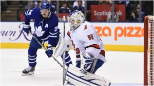 Toronto Maple Leafs centre John Tavares, not shown, scores his team's second goal of the game against Hurricanes emergency goalie David Ayres during second period NHL hockey action in Toronto, Saturday, Feb. 22, 2020. Mrazek left the game. Ayres, who serves as the Toronto Marlies' zamboni driver, replaced Petr Mrazek in net after a delay in action. THE CANADIAN PRESS/Frank Gunn