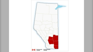 Snowfall warnings were in place Sunday for several regions in southeastern Alberta.