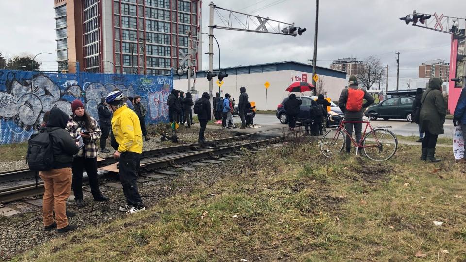 Protesters blocking rail crossing in East Van
