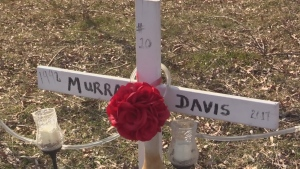 Cross for Murray James is seen at the Elgin Middlesex Dentention Centre on Sunday, Feb. 23, 2020. (Brent Lale / CTV London)